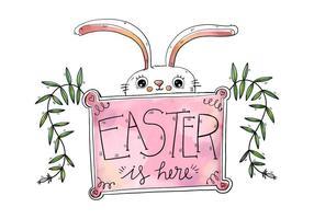 Söt vit kanin med rosa Sign påskdagen