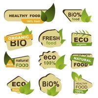 Bio, Öko, frische Lebensmittel Abzeichen gesetzt vektor