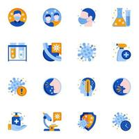 flache Symbole für den Coronavirus-Epidemieschutz vektor