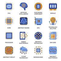 Elektronik-Symbole im flachen Stil.