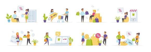saisonales Einkaufsset mit Personencharakteren vektor