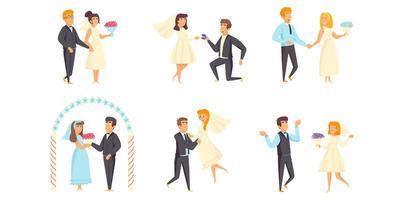 bröllop scener platt uppsättning vektor