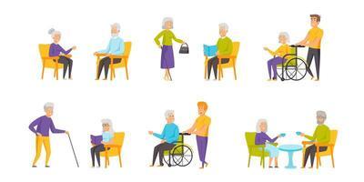pensionärer platt uppsättning vektor