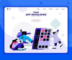 mall för apputvecklingsmålsida vektor
