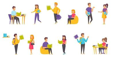 studenter med böcker platt uppsättning vektor