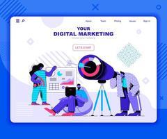 mall för digital marknadsföring målsida vektor
