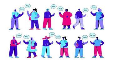 uppsättning roliga människor som säger hej