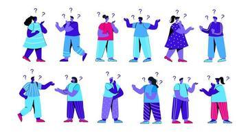 Gruppe verwirrter Mädchen und Jungen, die Fragen stellen vektor