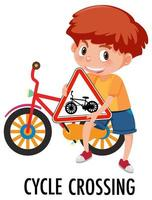 Junge, der Fahrradkreuzungszeichen lokalisiert auf Weiß hält