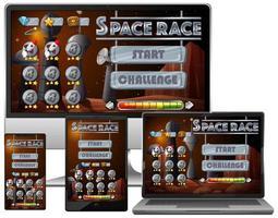 rymdloppsuppdragsspel på olika elektroniska skärmar