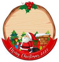 leeres Holzbrett mit Weihnachtsmann, Geschenken und Kamin