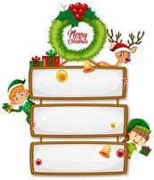 leere Schilder mit Elfen, Rentieren und Weihnachtskranz