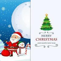 jul och nyår gratulationskort med jultomten vektor