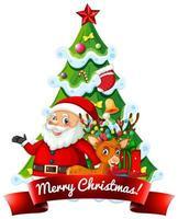 god jul banner med santa, träd och renar vektor