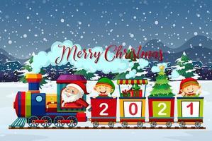 god jul teckensnitt med santa och älvor på tåget vektor