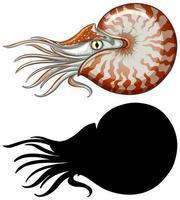 nautilus karaktär och dess silhuett vektor