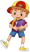 söt skolpojke håller ryggsäck