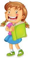 glückliches Mädchen mit Buch isoliert vektor