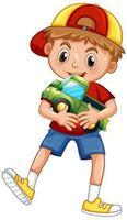 pojke som håller billeksak vektor