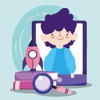 Online-Ausbildung Student Boy mit Smartphone und Büchern