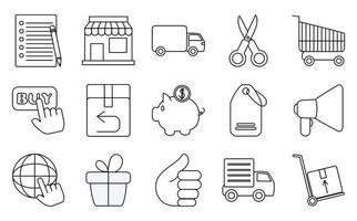 marknadsföring och e-handel ikonuppsättning