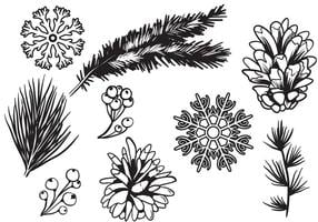 Free Winter Wald Vektoren
