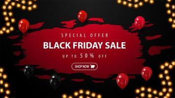 svart fredag försäljning banner med ballonger vektor