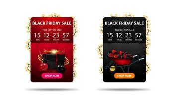 svart fredag försäljning, rabatt banner med nedräkningstimer vektor