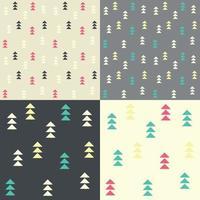 samling av fyra sömlösa mönster med geometriska trianglar