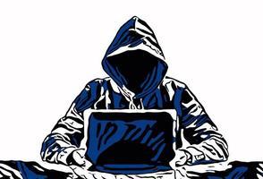 Hacker mit Notebook vektor