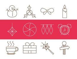 juldekoration och firande ikonuppsättning vektor