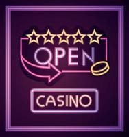 kasino och öppna neonljusskyltar vektor