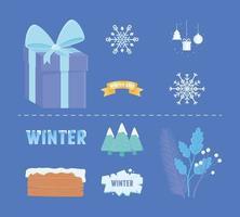 söt vinter ikon samling vektor
