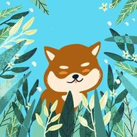 Shiba Inu niedlichen Hund im Laub