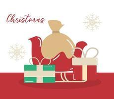 god jul, släde med påse och presentförpackning dekoration vektor