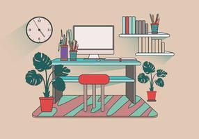 Modern Office Desk Setup Vektor