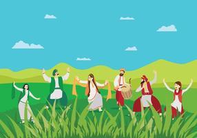 Gratis man och kvinnor gör Bhangra Dans på grönt landskap Illustration