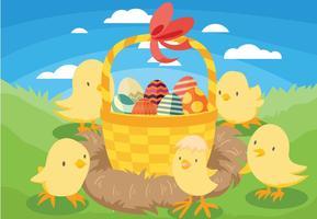 Påsk Chick Vector Bakgrund