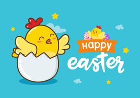 Glad påsk Chick Vector Bakgrund