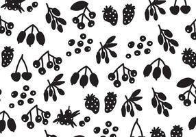 Silhouette Black Berries Vector Mönster