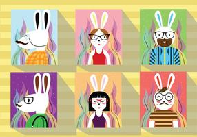 Hipster Ostern Kaninchen Character Vector Pack