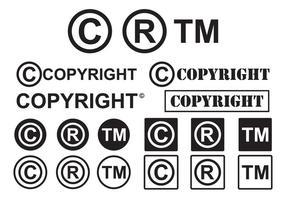 Uppsättning av Minimal Copyright symbolvektorer