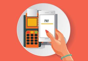 Orange NFC Vector Zahlung in realistischen Stil