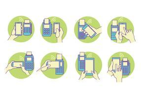 Blaue und grüne Konzept Vector NFC Set