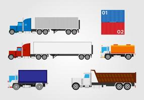 Flat Trucking Container Vector Set