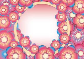 Cherry eller Peach Blossom Frame Vector