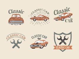 Vintage Classic Car Dodge Charger Label Vector Pack