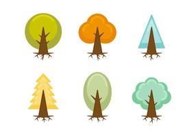 Freier Einzigartiger Baum mit Wurzeln Vektoren
