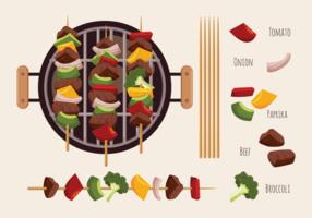 Brochette Kebab Grillspett Ikoner Vector