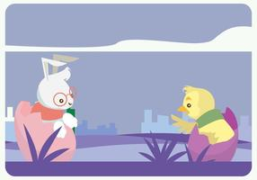 Hipster Bunny och Chick Vector
